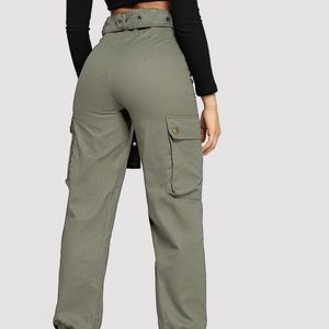 SHEIN Belted Cargo Ankle- cut joggers